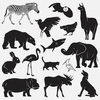 conjunto de modelos de desenho vetorial de silhuetas de animais