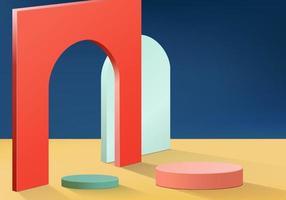 cilindro cena mínima abstrata com plataforma geométrica. fundo do verão vetor renderização 3d com pódio. estande para mostrar produtos cosméticos. vitrine de palco em pedestal moderno 3d estúdio azul pastel