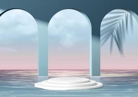cilindro cena mínima abstrata com plataforma geométrica. fundo do verão vetor renderização 3d com pódio. estande para mostrar produtos cosméticos. vitrine de palco no pedestal moderno 3d estúdio azul céu no mar