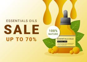 Modelo de venda de óleos essenciais para anúncios vetor