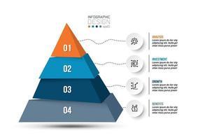 modelo de infográfico de pirâmide de negócios ou marketing. vetor