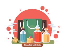 Vetor de venda de óleos essenciais