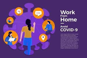 coronavírus (COVID-19. a empresa permite que os funcionários trabalhem em casa para evitar vírus. vetor