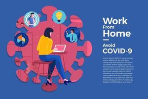 coronavírus (COVID-19. a empresa permite que os funcionários trabalhem em casa para evitar vírus vetor