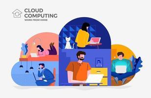 computação em nuvem permitindo que as pessoas trabalhem em casa vetor