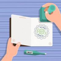 passaporte covid-19, carimbado para permitir a entrada no país vetor