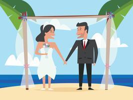 Casal de noivos casamento na praia vetor
