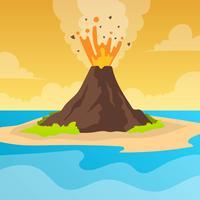 Erupção de vulcão plana com céu laranja Vector fundo ilustração