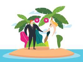 Casal Casado Na Ilha vetor