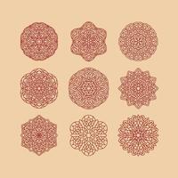 coleção de mandala definir ilustração vetorial. elementos decorativos vintage. mão desenhada fundo. motivos islâmicos, árabes, indianos, otomanos. vetor