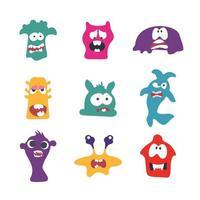 ilustração de monstros bonito dos desenhos animados. coleção plana de vetores. coleção de monstros de desenhos animados bonitos e coloridos. ilustração vetorial. design plano.