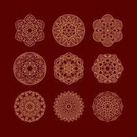 conjunto de mandala. elementos decorativos vintage. mão desenhada fundo. motivos islâmicos, árabes, indianos, otomanos. vetor