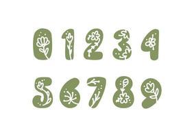 números em negrito florais vintage de 0 a 9 logo primavera. vetores de design de carta de verão clássico com cor preta e mão floral desenhada com padrão monoline