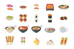 conjunto de ícones de comida japonesa vetor