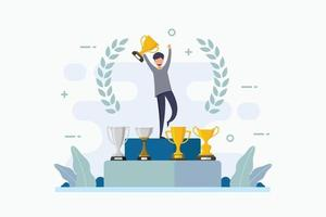 orgulho do vencedor do campeonato com vitória e obtenção do troféu vetor