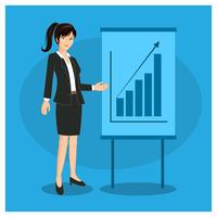Apresentação de mulher de negócios de caractere