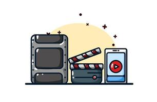ícone de streaming e ilustração de assistir a vídeos