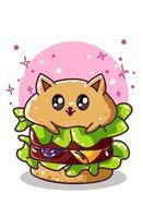 um hambúrguer de gato fofo, ilustração de personagem vetor