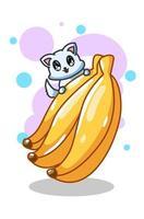 ilustração vetorial de bananas e gatinho fofo