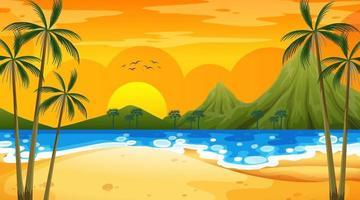 cena de praia tropical com fundo de montanha ao pôr do sol vetor