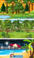 três cenas horizontais de floresta diferentes vetor