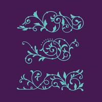 Conjunto de luxo Floral Swirl para ornamento decorativo vetor