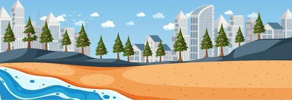 cena horizontal de praia durante o dia com fundo da cidade vetor