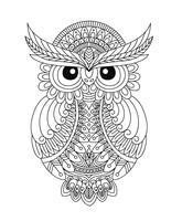 Livro de colorir de coruja para adulto