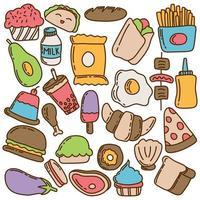 pacote de ícones de doodle de comida colorida vetor
