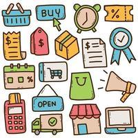 conjunto de doodle de vetor de supermercado on-line