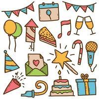 conjunto de doodle colorido de fundo de festa vetor