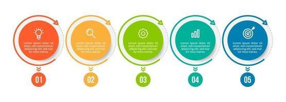 ilustração vetorial modelo de design de infográfico com 5 opções ou etapas vetor