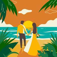 Vetor de pôr do sol praia casamento