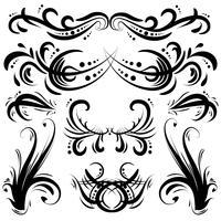 Elementos decorativos decorativos desenhados a mão vetor