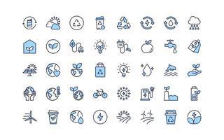 conjunto de ícones de linha fina de ambiente ecológico,