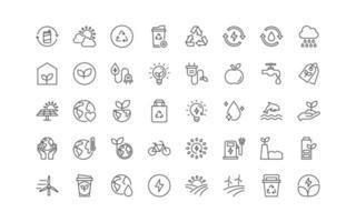 conjunto de ícones de linha fina de ambiente ecológico, natureza