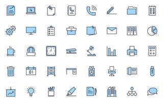 conjunto de ícones de linha fina de escritório, trabalho, trabalho vetor