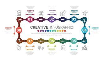 design de linha fina de infográfico de círculo e 8 opções ou etapas. infográficos para o conceito de negócio. pode ser usado para banner de apresentações, layout de fluxo de trabalho, diagrama de processo, fluxograma. vetor