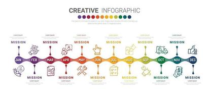 apresentação modelo de infográfico de negócios por 12 meses, 1 ano, pode ser usado para conceito de negócio com 12 opções, etapas ou processos. vetor