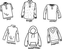 conjunto de camisa doodle vetor