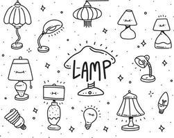 conjunto de lâmpada doodle. estilo doodle de lâmpada