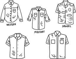 conjunto de camisas doodle vetor