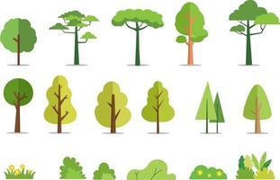 árvores e arbustos definir ilustração vetorial de estilo simples. árvore da floresta de cartoon. planta e flores. fundo isolado da árvore vetor
