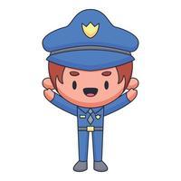 policial cartoon doodle desenhado à mão conceito vetor ilustração kawaii