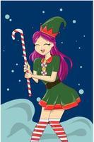 linda garota trazendo doces de natal