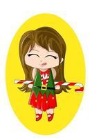 um chibi fofo usando vestido de natal com bastão de doces