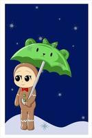 uma fantasia de bolo de natal de bebê sob um guarda-chuva