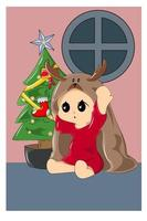 bebê com manta de rena no dia de natal