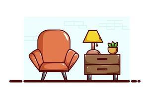 ilustração de sofá e mesa