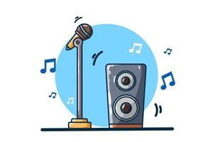 ilustração de microfone e alto-falante de som